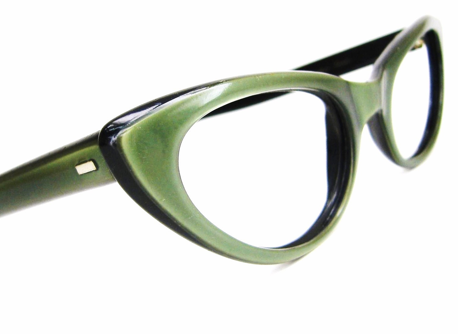 Eyeglass Frames Green : Vintage 50s Eyeglasses Green Cat Eye Frame Safilo