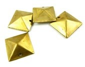 6 - Raw Brass Square Pyramid Geometric Charms