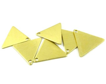 8 - Raw Brass Triangle Charm Stampings
