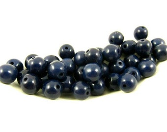 30 - Vintage Round Glass Beads - Navy - 6mm .