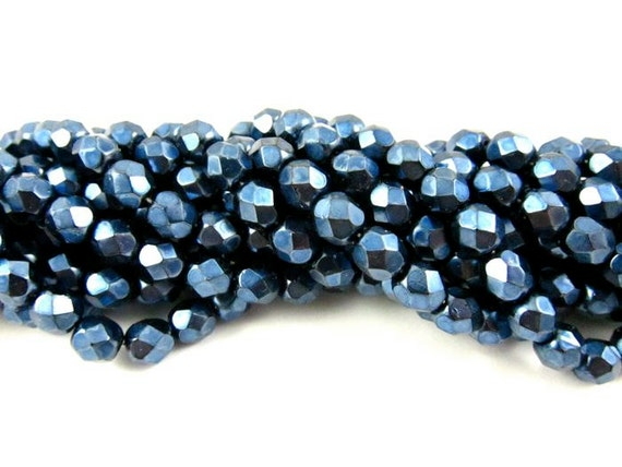 30 - Round Czech Fire Polished Faceted Glass Beads - Pearlized Dark Blue on Jet - 6mm