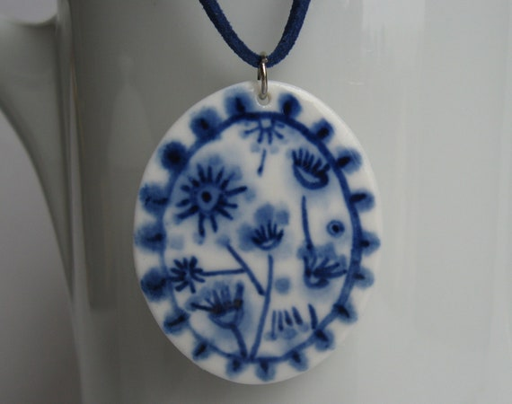 Delft pendant necklace - hand painted porcelain