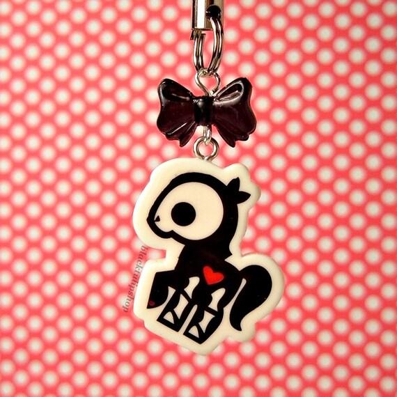 Little Pony Cell Phone Charm Zipper Pull Creepy Cute Skeleton Heart Black Bow