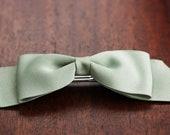 Vintage Green Ribbon Barrette