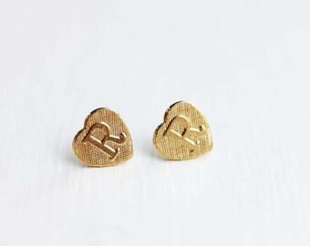 Gold Letter Heart Studs - A, C, E, J, P, R, S, T