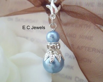Something Blue,Pearl Bouquet Charm
