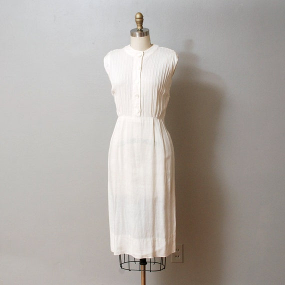 1950s Dress - White Linen Pintuck Dress