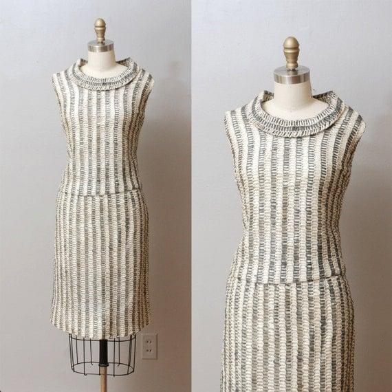 1960s Dress Set - Gray Stripe Tatted Linen Skirt and Blouse