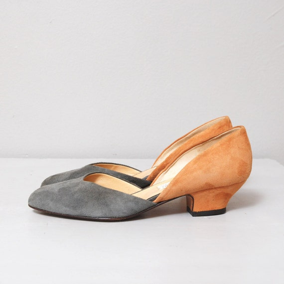 1980s Calvin Klein Heels - Two Tone Leather Low Heels Size 6