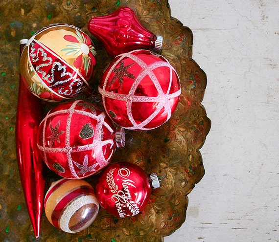 Vintage Christmas Ornaments - Red and Gold Mercury Glass Mixed Lot