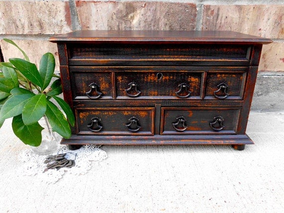 Vintage - Upcycled -Wondrous Walnut Brown - Wooden Musical Jewelry Box  - Storage - Rustic Chic