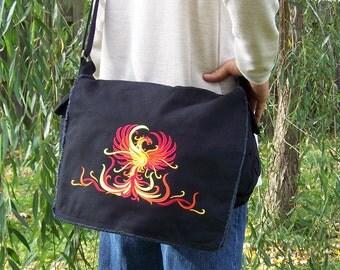 Phoenix embroidered canvas messenger bag