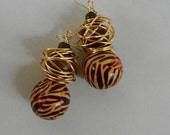 Brown Zebra Print Drop Earrings with Gold Wire Wrapping
