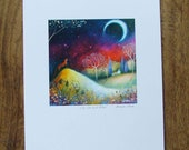 Special edition art print with gold leaf. The Fox and Moon . Amanda Clark.