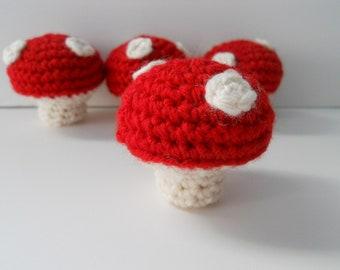 Amigurumi Crochet Mini Red Mushrooms - Set of 4 Plushie Mushrooms Play Kitchen Food Gift Under 20 Woodland Decor Waldorf Decor