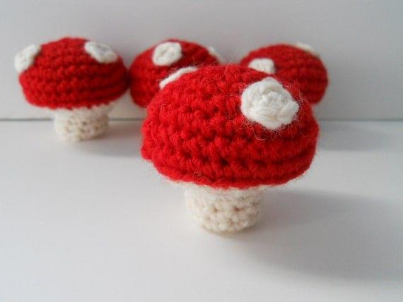 Amigurumi Crochet Mushroom : Amigurumi Crochet Mini Red Mushrooms Set of 4 Plushie