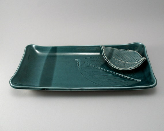 Serving Platter-Pottery Platter-Leaf Plate-Leaf Dipping Dish-Peacock Gloss Glaze-Stoneware-Ceramic Serving Tray-Teal