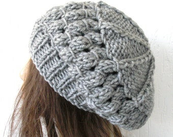 School Girl Knit Hat  Beehive beret  in  Silver Gray   Womens Hat  Slouchy Beanie Beret  Fall Autumn  Winter Accessories fashion  Christmas