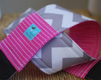 Camera Strap Gray Chevron and Pink Stitch, Reversible, Built in Lens Cap Pocket