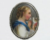 Antique Victorian Porcelain Portrait Pin Brooch Hand Painted Lady Bird in Hand 1880s