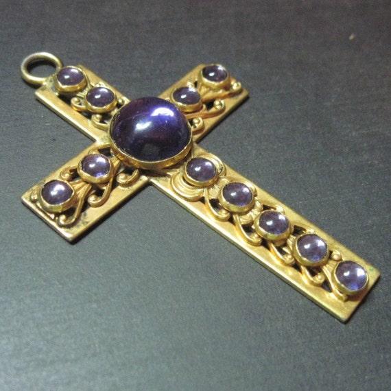Large Art Nouveau Cross - Vintage - Pendant - Purple - Gold Gilt - Amethyst Glass - Goth - Antique