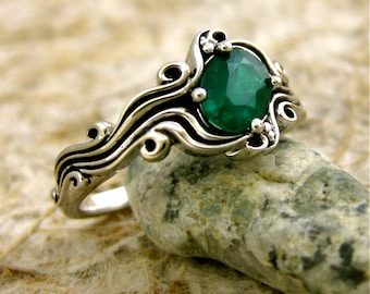 Dark Green Emerald Engagement Ring in 14K White Gold in Ocean Sea Surf Setting with Black Waves Size 6