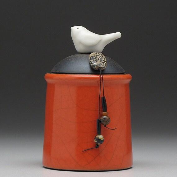 Ceramic Bird jar,red orange pottery jar ,home decor,Little Clay Bird on Jar, raku fired art pottery, handmade jar with lid