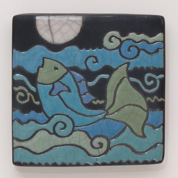 Fish, moon,Ceramic tile, a 4x4 handmade raku fired art tile, wall art