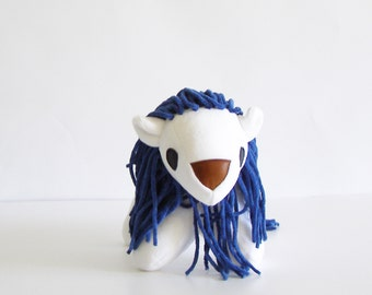 Lion-fabric- super soft baby safe lion -soft sculpture-white lion with dark blue mane and tail