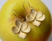 Gold Magnolia Flower Earrings - Bohemian Earrings - Bridesmaid Earrings - Bridal Earrings - Bridesmaid Gift
