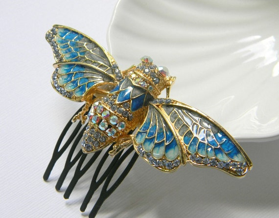 Cicada Hair Comb - Insect Comb - Blue and Cream Enamel Comb - Gold - Swarovski Rhinestone Comb - Bug Comb - Original