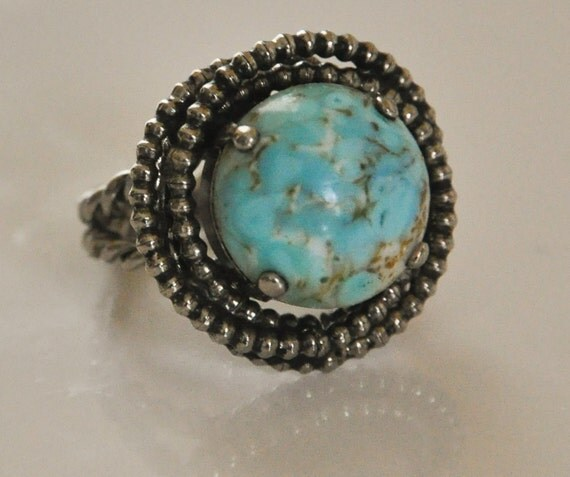 1960s Robins Egg Stone Silver Tone Rope Style Adjustable Cuff Ring