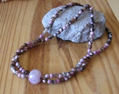 Pink and Brown Double Strand Agate Necklace with Quartz Focal Bead and Matching Earrings