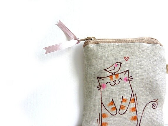 Cat Coin Purse, Cat Zipper Pouch