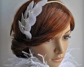 Headband Fascinator, Silk Leaves Bridal White Ivory, Couture, Millinery Stamens, TianaHE,
