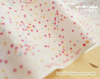 Chic Embroidery Colorful Rainbow Dandy Dots - Japanese Embroidery Cotton Fabric (1/2 Yard)