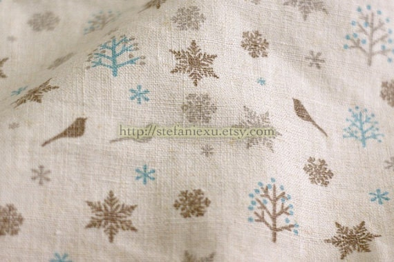 Love Of Nature, Birds, Trees and Snowflakes-Water Washed Linen Cotton Blended Fabric (1/2 Yard)