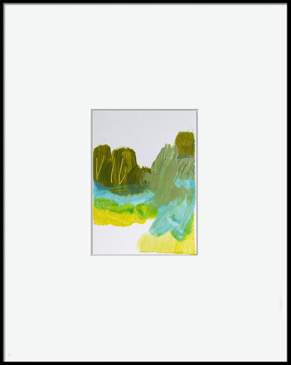"""Spring Abstract Landscape Painting, 4.5 x 6 original fine art -- """"Painting 161"""" --  acrylic painting on paper"""