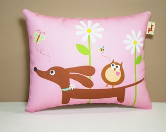 Dachshund Pillow - Doxie and Owl in the Bubblegum Daisy Garden - Doxie Gift Whimsical Home Decor