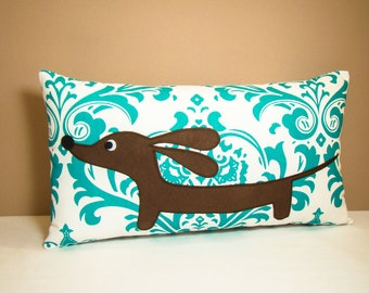 Dachshund Pillow - Doxie in the Teal Damask Garden - Traditional Home Decor White Turquoise Dog Pillow