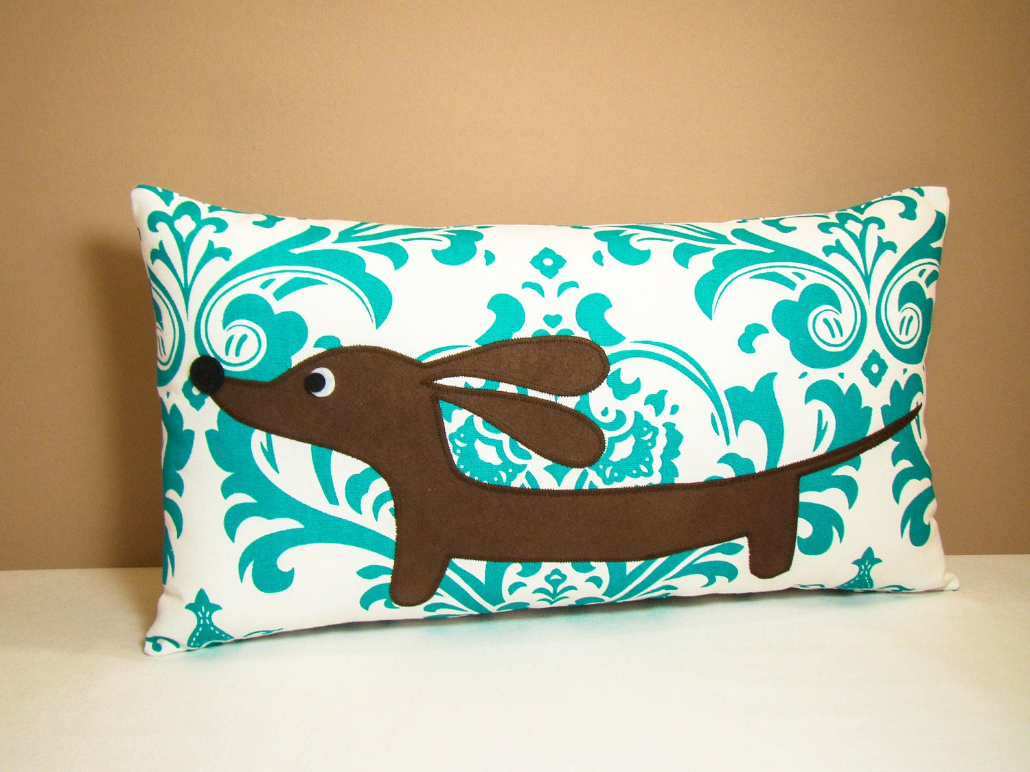 Dachshund Home Decor Dachshund Pillow Doxie In The Teal Damask Garden