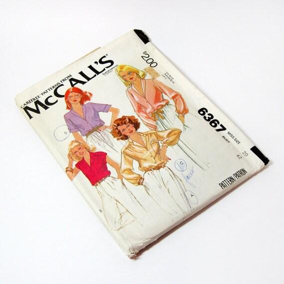 Womens Shirt Pattern McCalls 6367 Misses Blouse Pattern Size 20 Bust 42