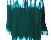 Christine Albers Green Tie Dye Silk Tunic Size L