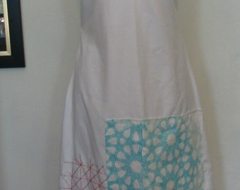 Sara Moe White Cotton Geometric Applique Spaghetti Strap Dress Size S to M