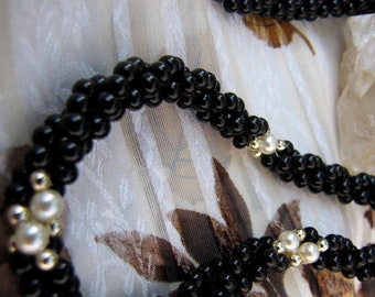 Vintage  Mid-Century  Black  Jet & Pearl 3 Strand Necklace - Vintage Multi beaded Necklace