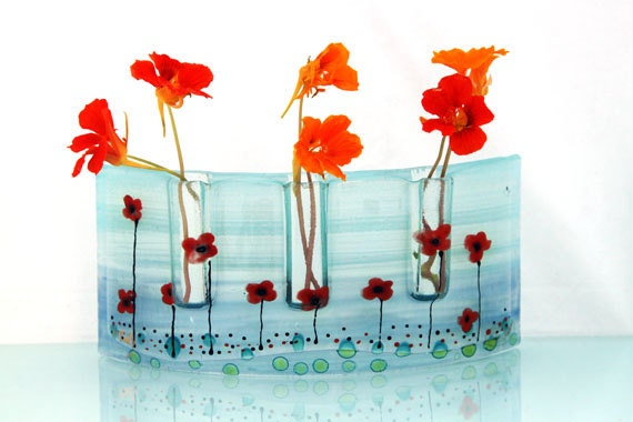 Red Poppy Fused glass Curved vase dwvided to three vases in Calm Blue Sky colors