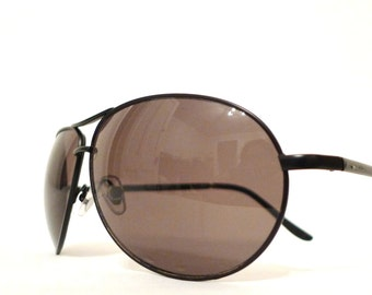 Big Vintage 70s Black METAL Aviator Eyeglasses Frames/ Hip Hop Sunglasses on sale
