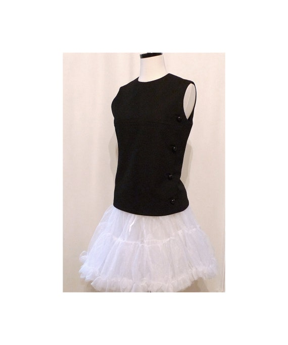 Twiggy Black Majorette Top/ Audrey Hepburn / Sleeveless / Mad Men Era Military Inspired Vest