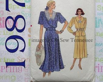 Vintage Ladies Dress Pattern - Vogue 9936 - Sewing Pattern, Sz 14, 16, 18