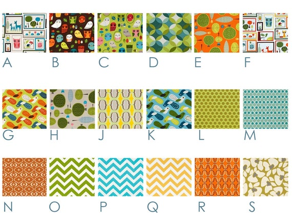 RETRO Forest Critters - Orange, Green, Blue, Yellow - Custom Crib Bedding Set - Inspired by Charlie Harper